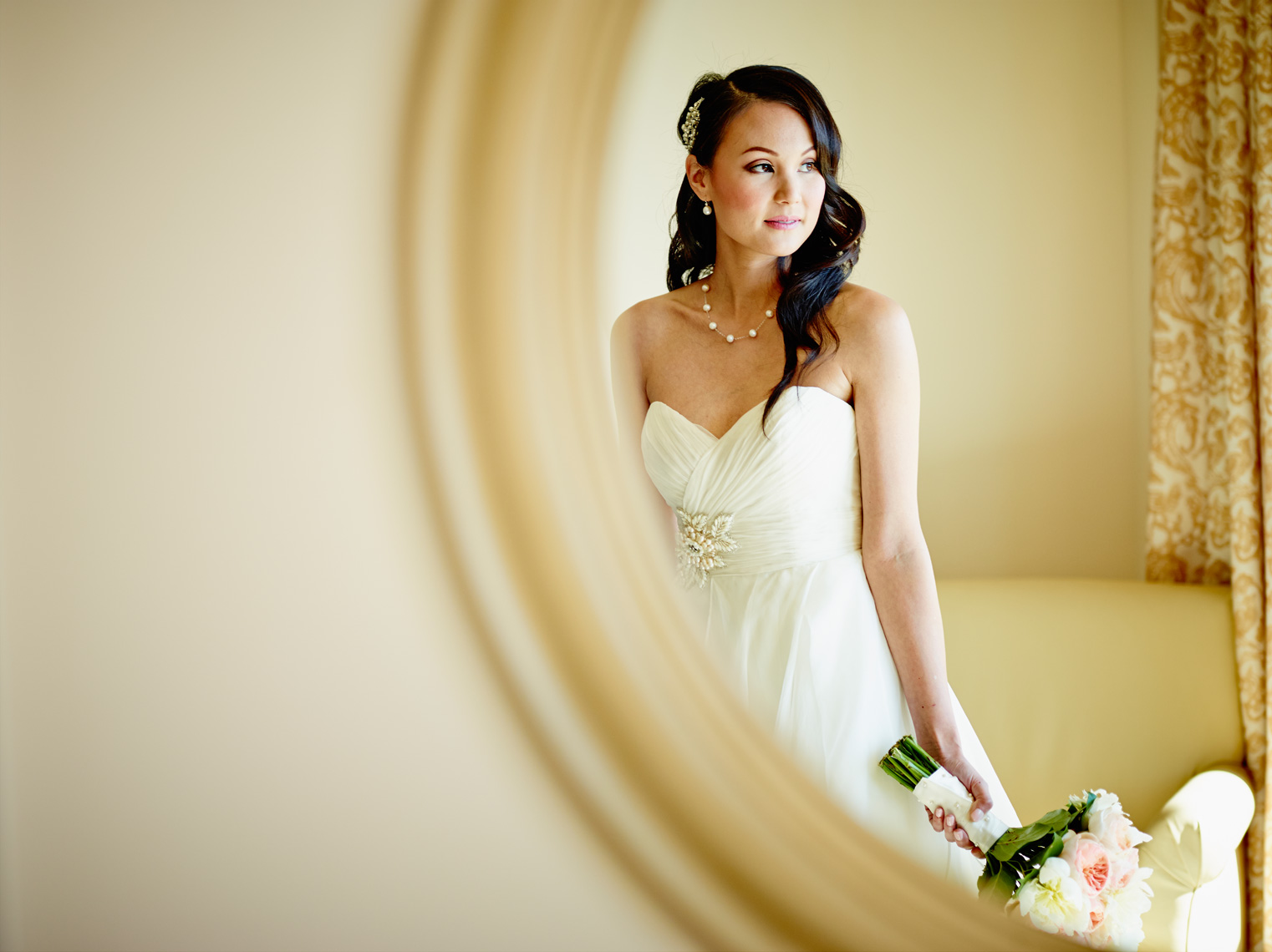 Bride poses for a portrait at Terranea Resort in Rancho Palos Verdes, CA.