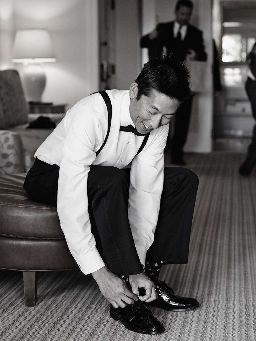 Groom prepares for wedding at Terranea Resort in Ranch Palos Verdes, CA