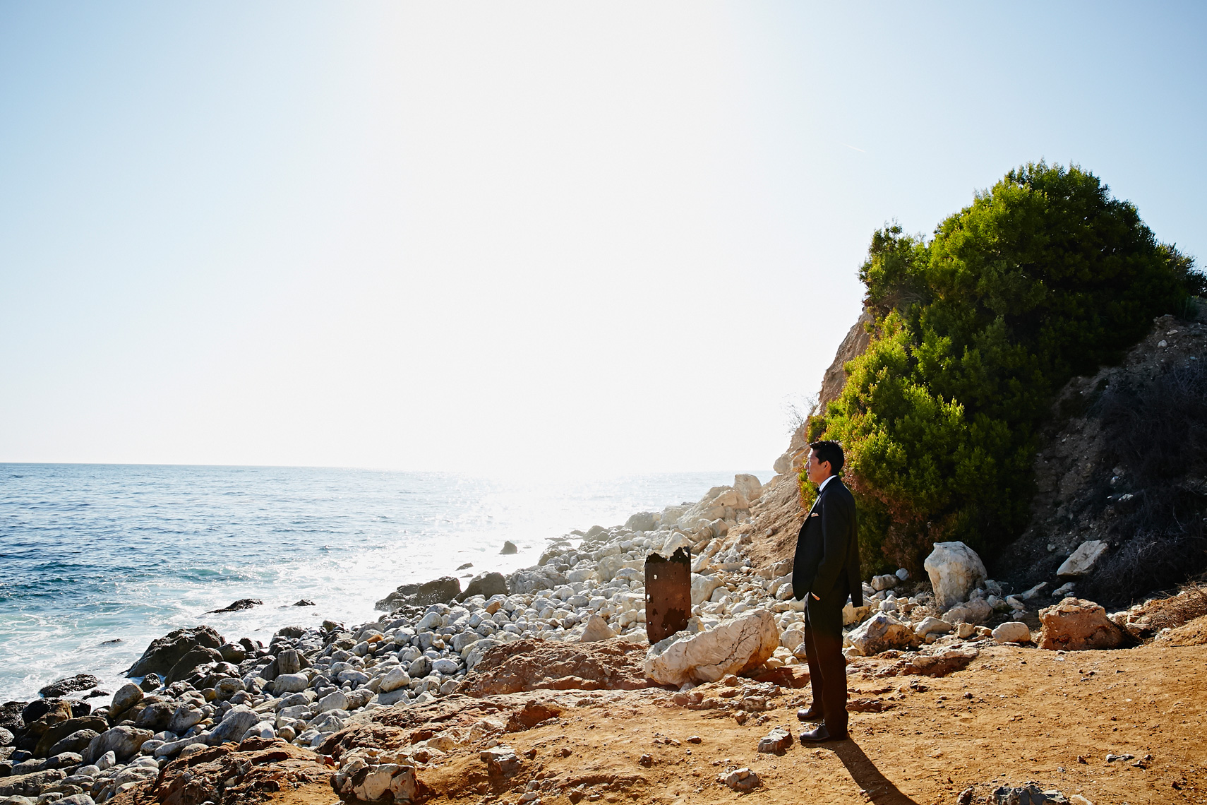 Groom waits for a first look of his bride at Terranea Resort in Rancho Palos Verdes