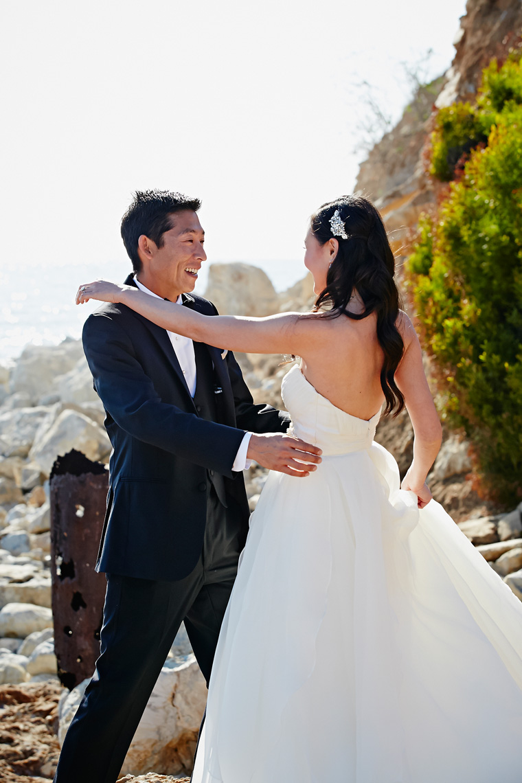 Bride and Groom first look at Terranea resort in Rancho Palos Verdes, California