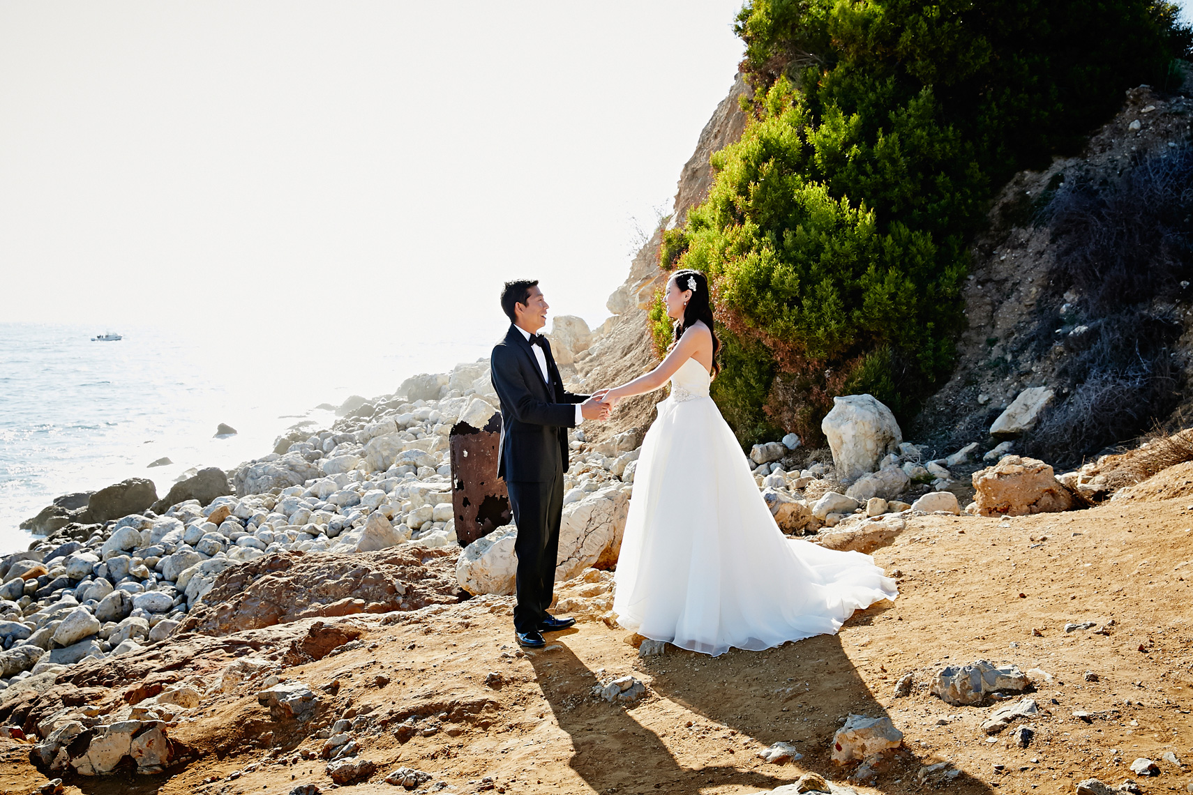 Bride and Groom embrace after first look at Terranea resort in Los Angeles California