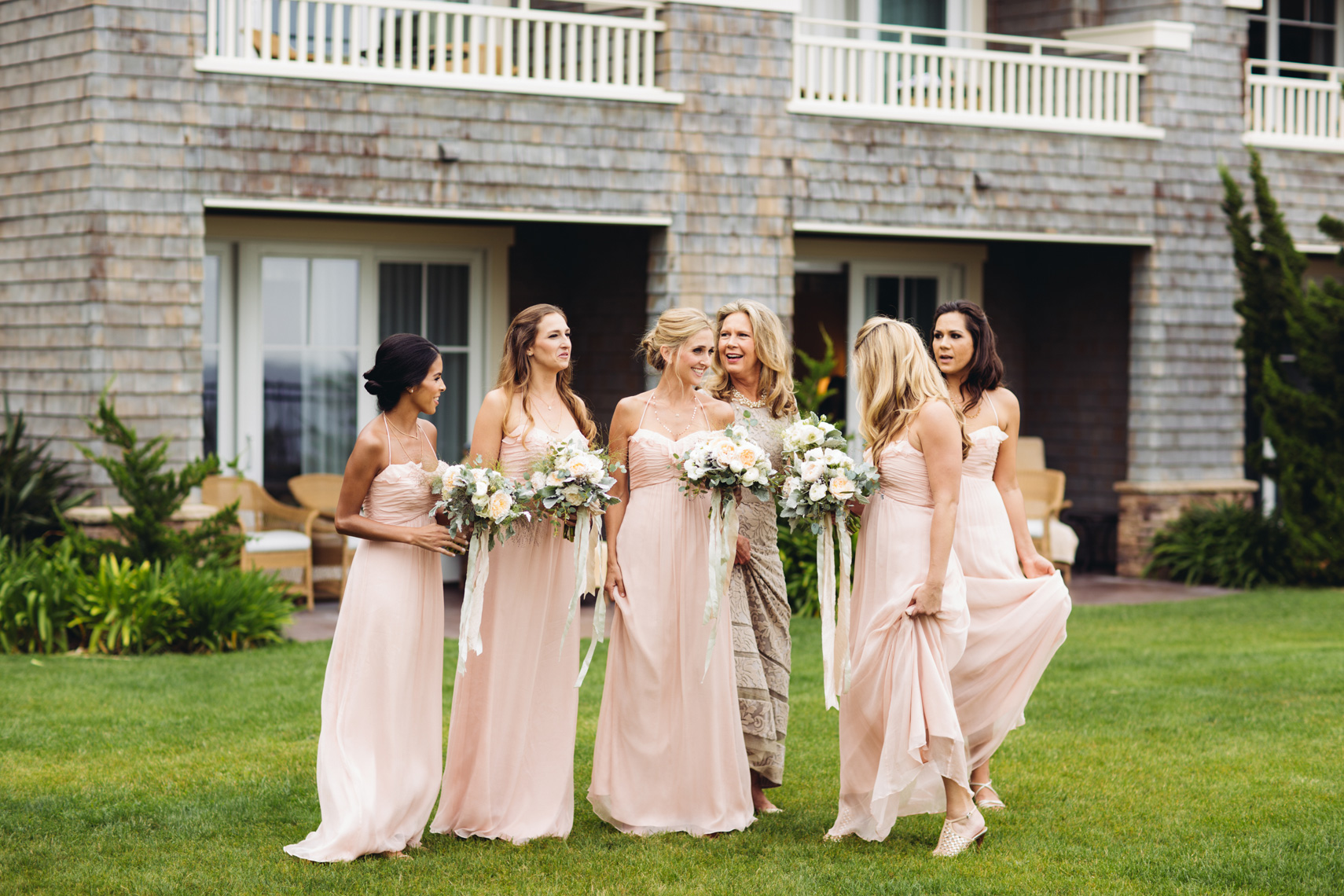 Bridesmaids gather at Montage Resort, Laguna Beach, prior to wedding.