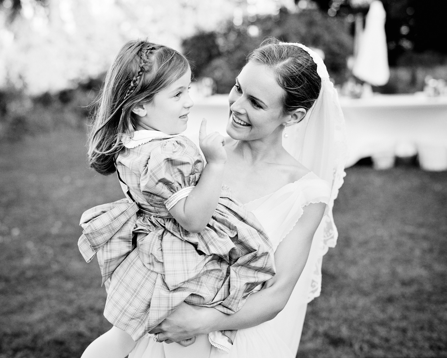 Bride with flowert girl at Fort Mason in San Francisco, California