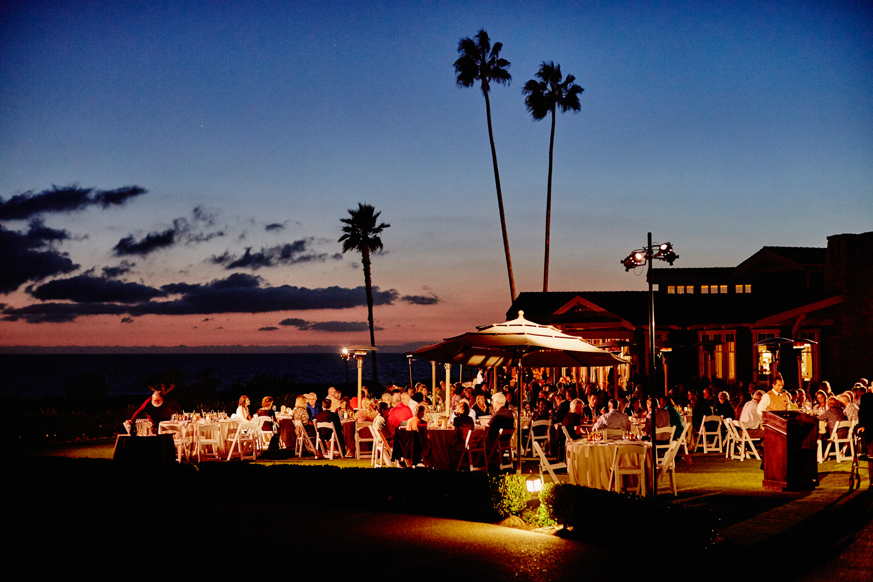 Lighting for a corporate event at Montage Resort, Laguna Beach at dusk