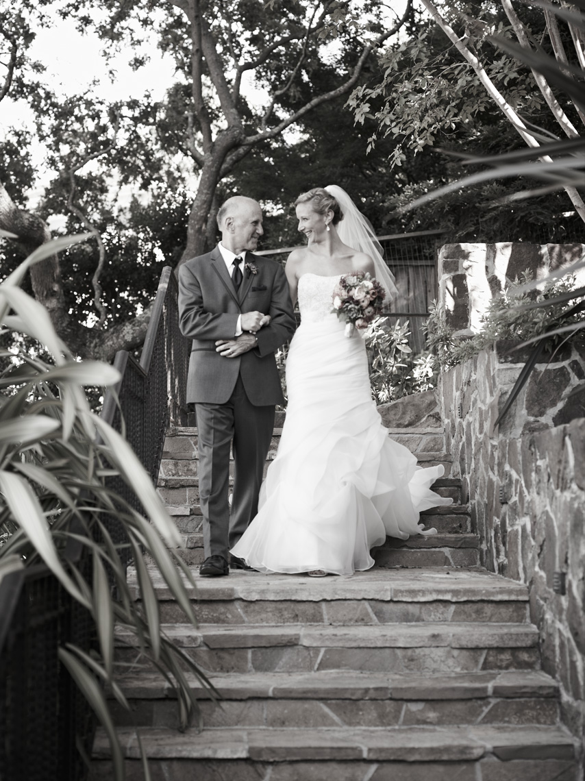 Bride and father walk to ceremony at private estate in Palo Alto, California