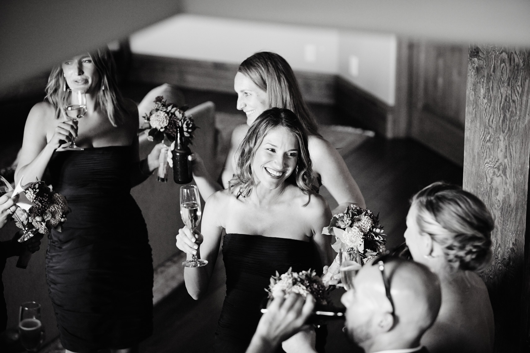 Bridesmaids celebrate after wedding ceremony at private residence in Palo Alto, California