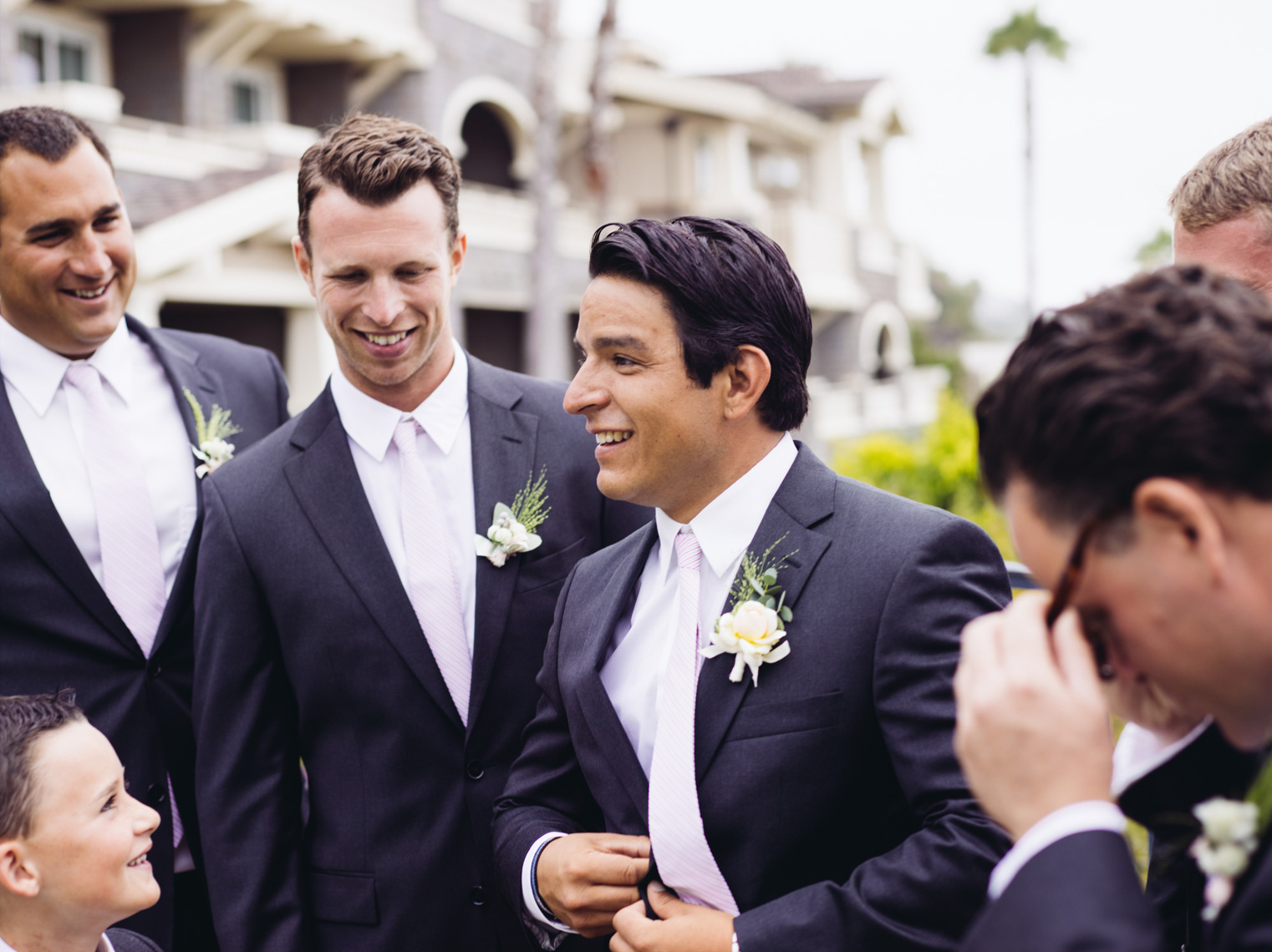 Groom with groomsmen at Montage Resort, Laguna Beach California