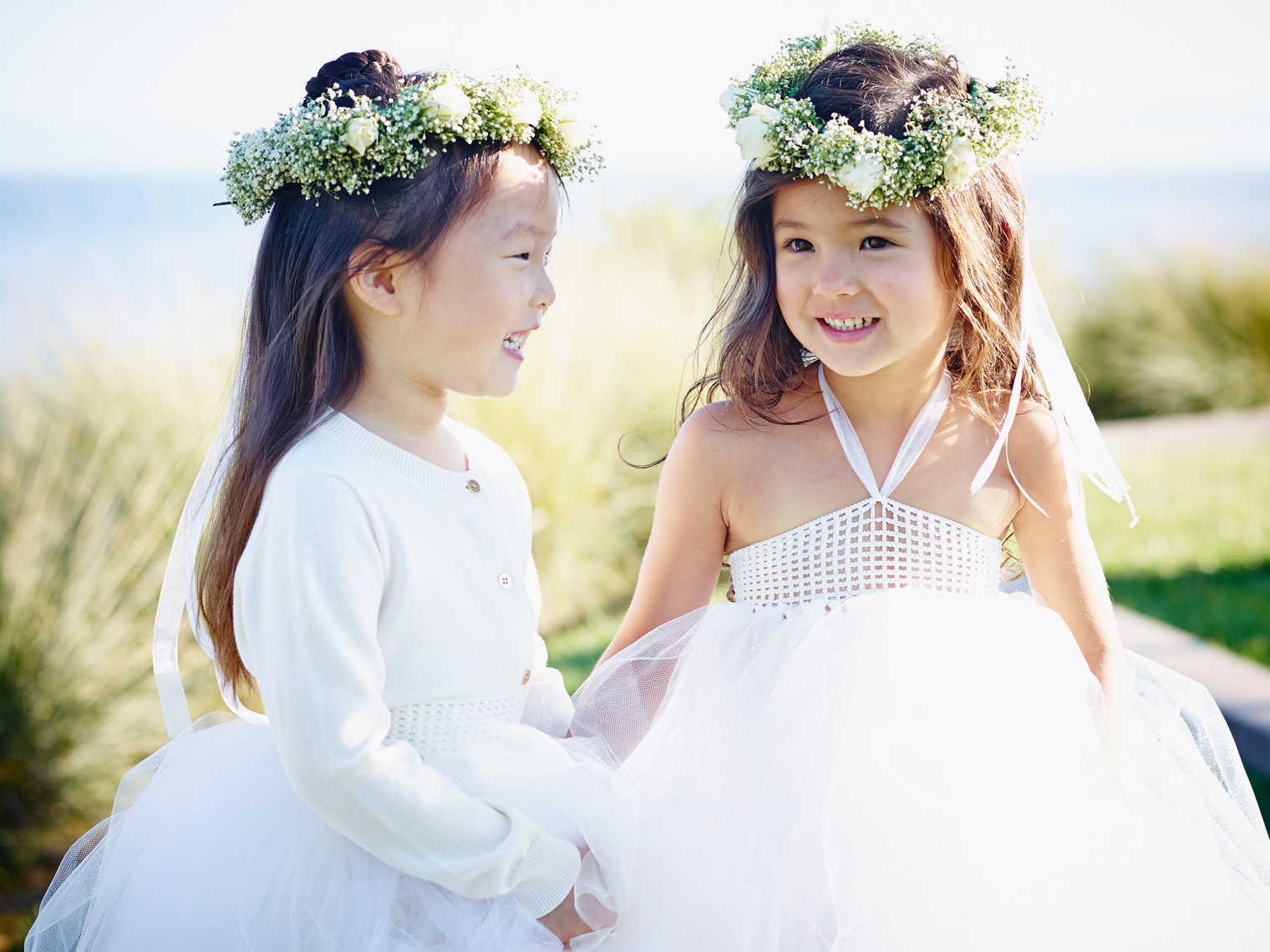 Flower girls at Terranea Resort prior to ceremony.
