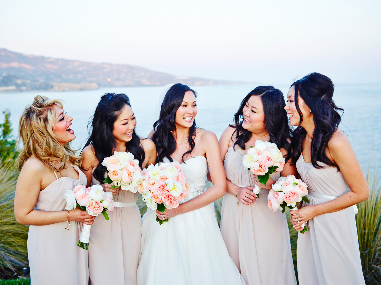 Bride with Bridesmaids at Terranea Resort in rancho Palos Verdes