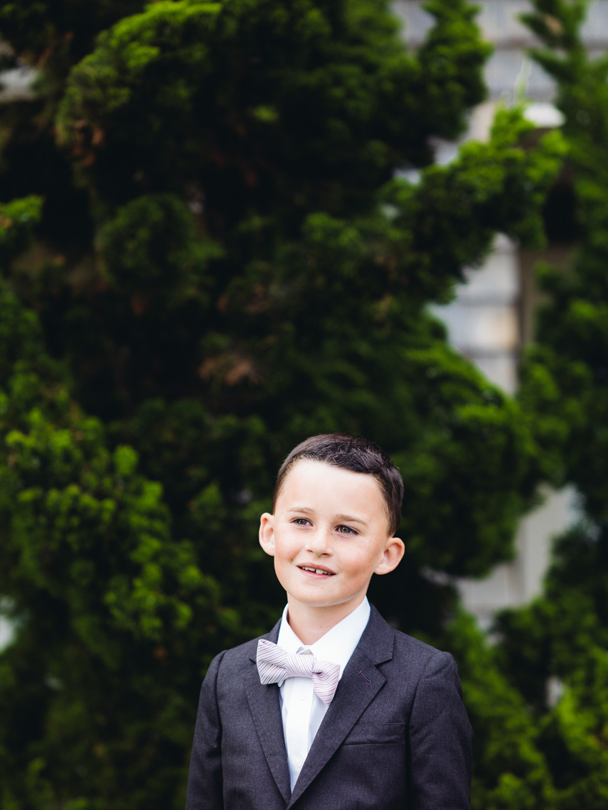 Ring bearer poses prior to wedding at Montage Resort, Laguna Beach