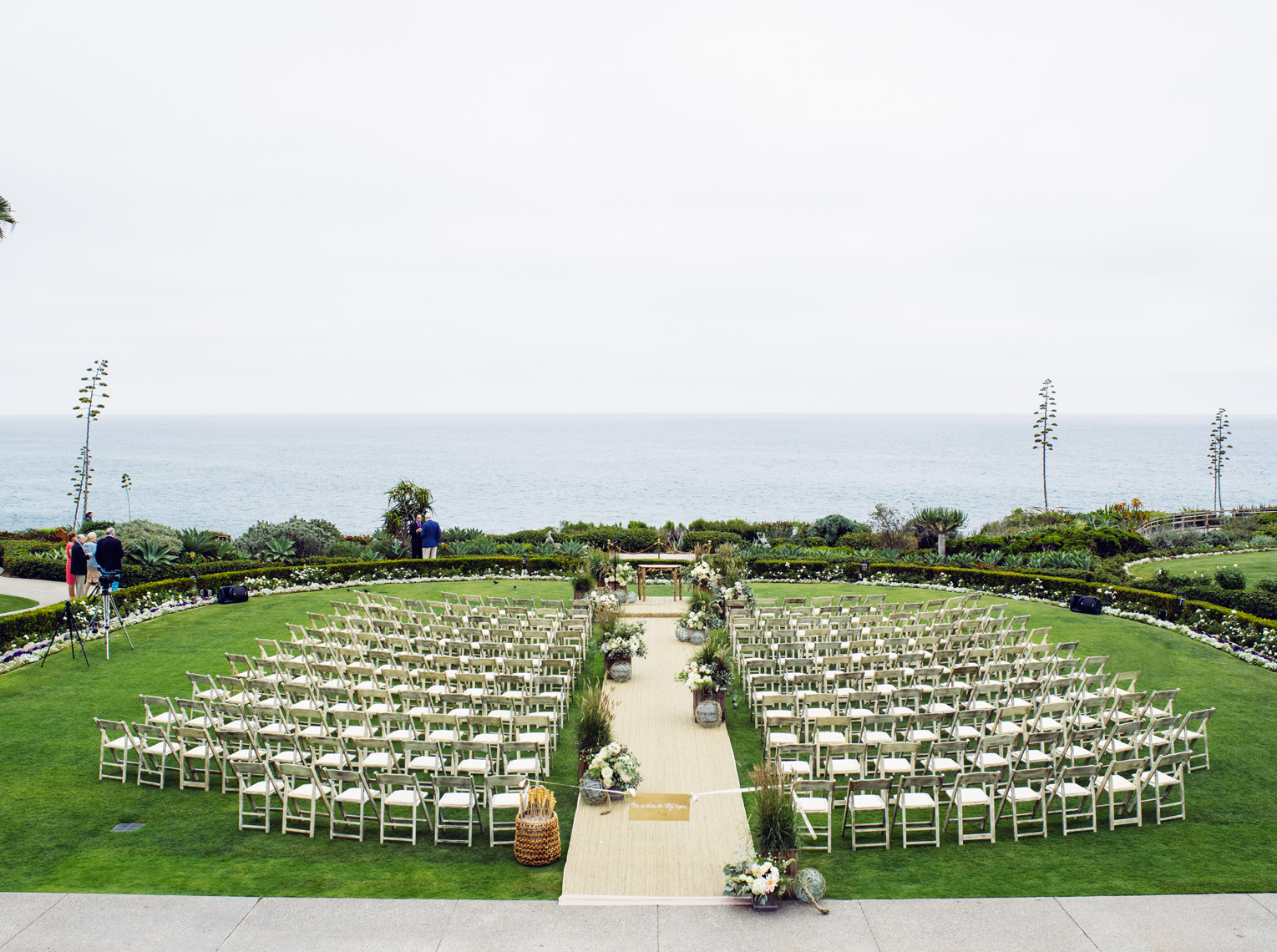 Wedding ceremony on Pacific Lawn at Montage Resort, Laguna Beach California