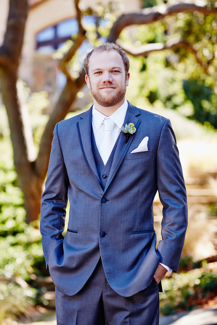 Groom poses at Wedding in Palo Alto, California