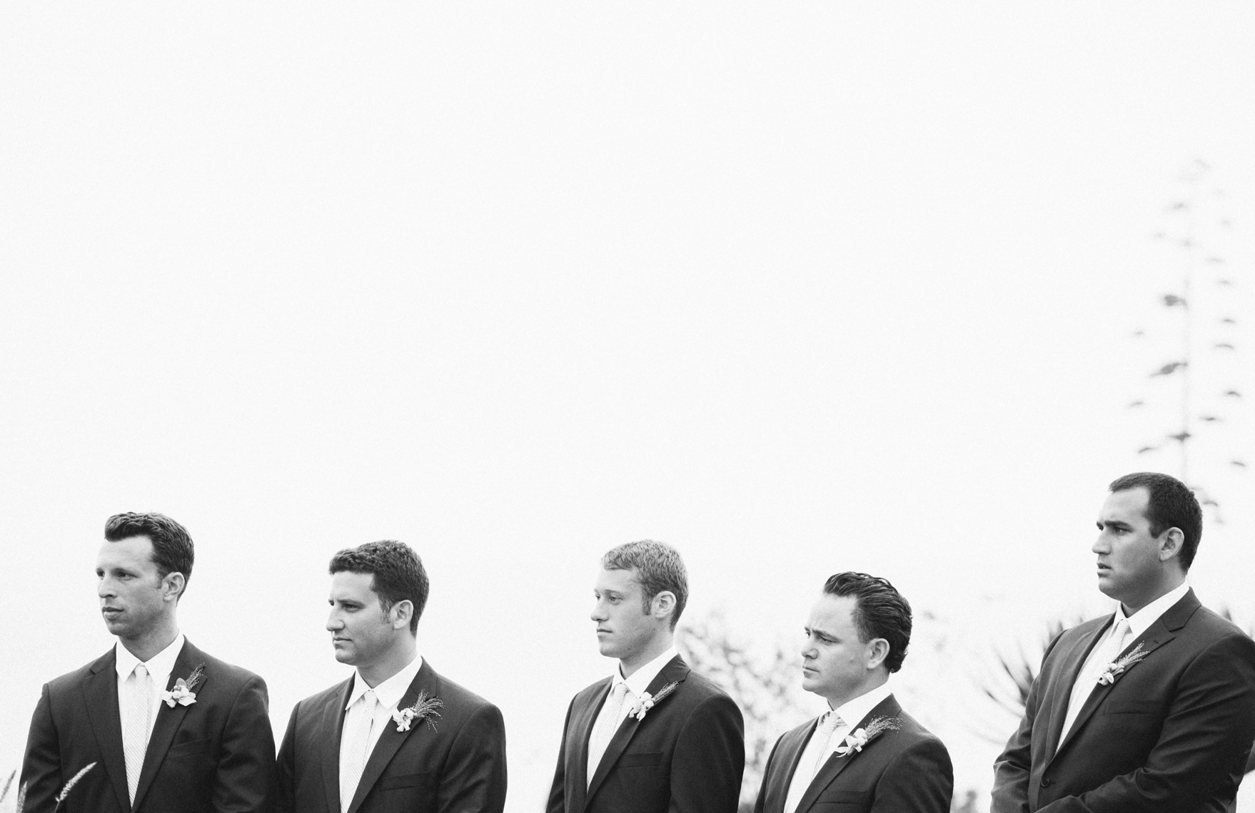 Groomsmen during wedding ceremony at MontageResort, Laguna Beach.