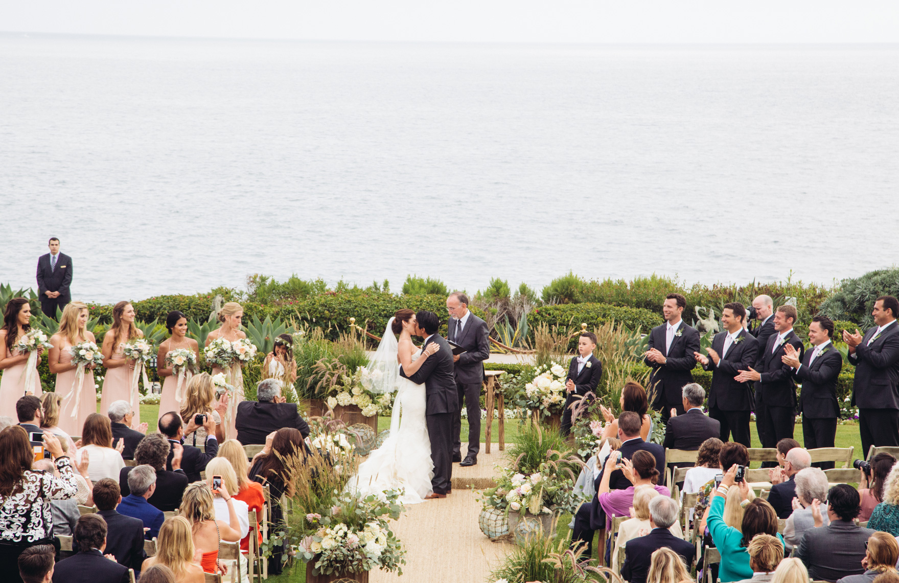 The wedding ceremony on the Pacific Lawn at Montage Resort, Laguna Beach.