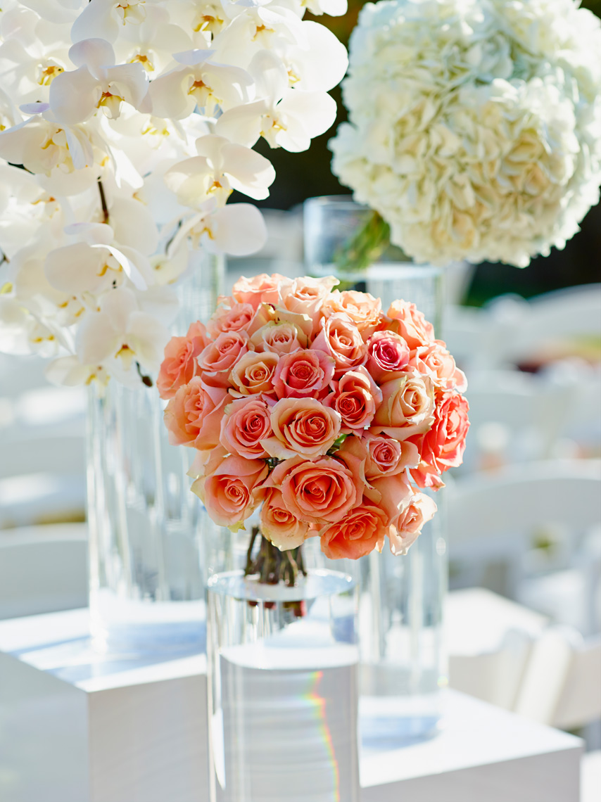 Flower details for wedding at Montage Resort, Laguna Beach