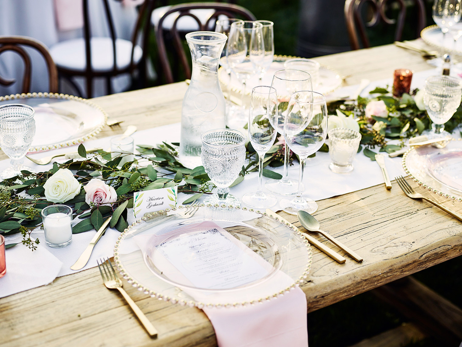 tabletop decor at Wedding reception