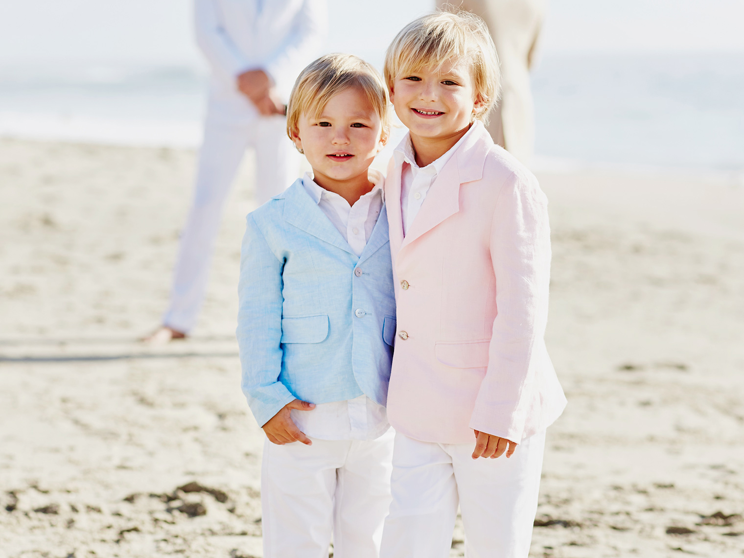 Children at beach wedding in Laguna Beach, California