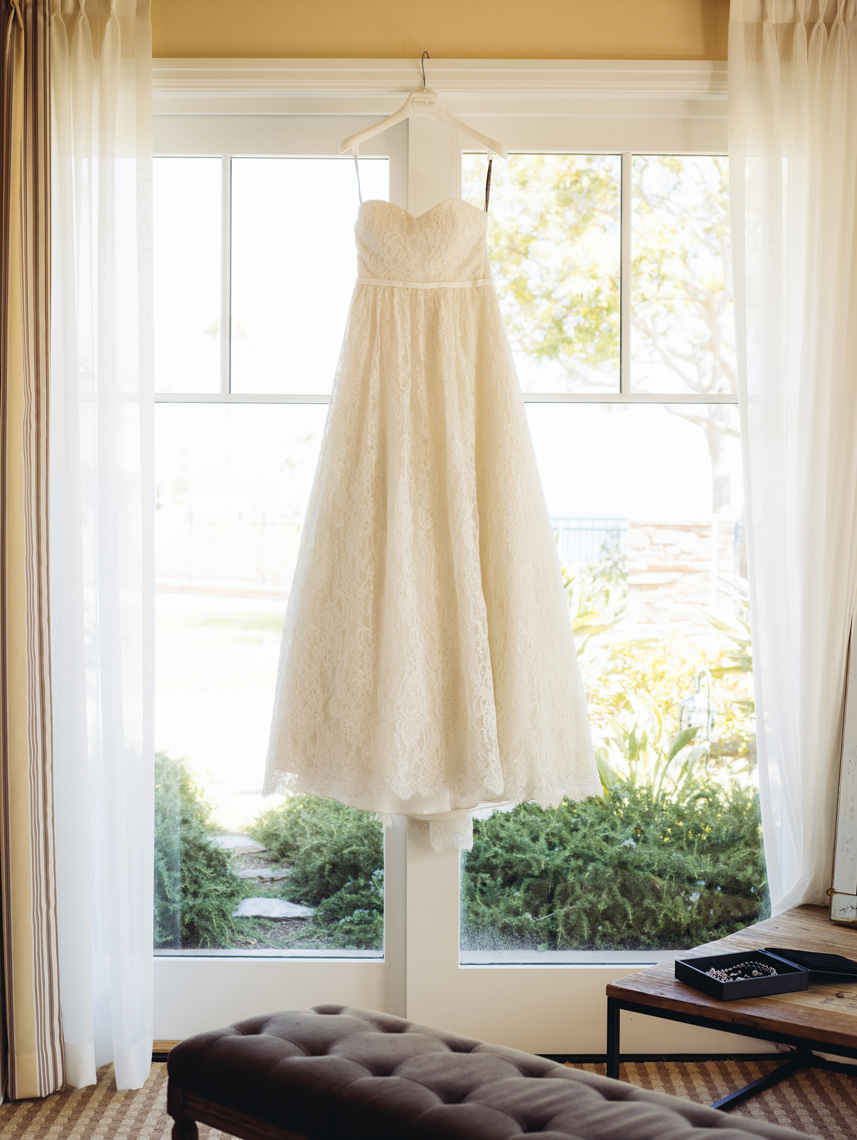 Wedding dress hangs at Montage Resort, Laguna Beach