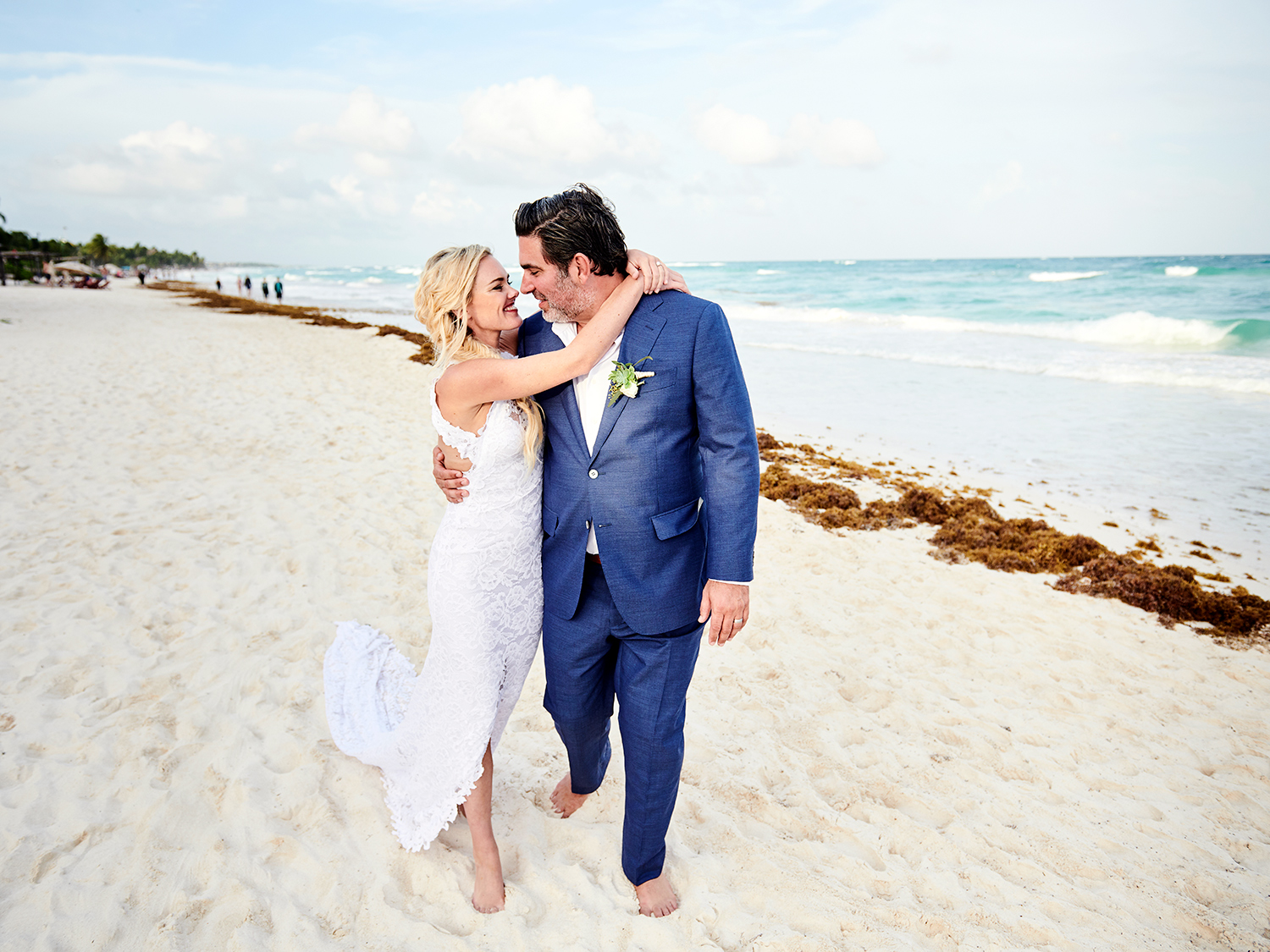 Bride and Groom beach wedding in Tulum, Mexico